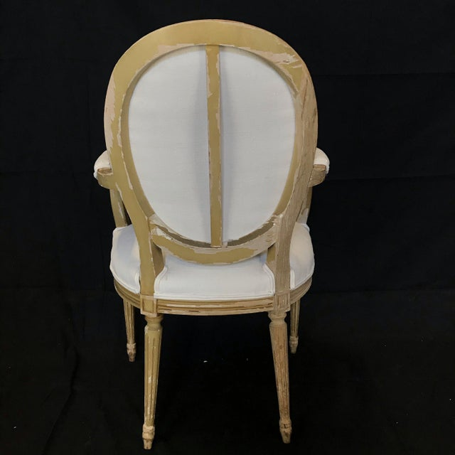 French Louis XVI Dining Chairs With Original Paint & Linen Uphostery -Set of 6 For Sale - Image 3 of 13