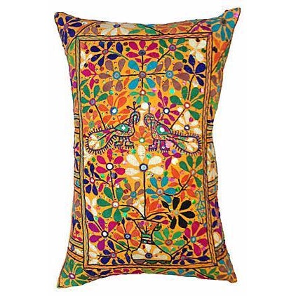 Indian Embroidered Peacock Floral Pillow - Image 1 of 4