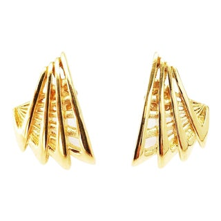 Abstract Gold Plated Pierced Earrings by Givenchy For Sale