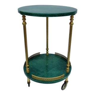 C.1950's Original Italian Aldo Tura Green Goatskin Lacquered Round Drinks/Side or Occasional Table on Castors For Sale