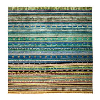 "New Hand-Knotted Striped Tribal Rug - 8'1"" X 8'2"" For Sale"