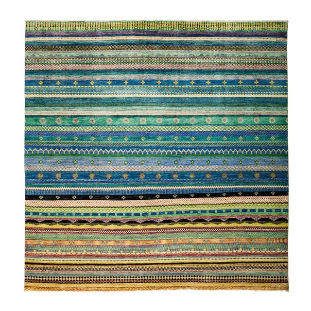 """New Hand-Knotted Striped Tribal Rug - 8'1"""" X 8'2"""" - Image 1 of 3"""