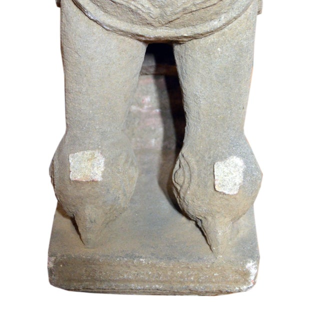 19th Century Hand-Carved Stone Sphinx With Tiara and Earrings Sculpture For Sale - Image 12 of 13