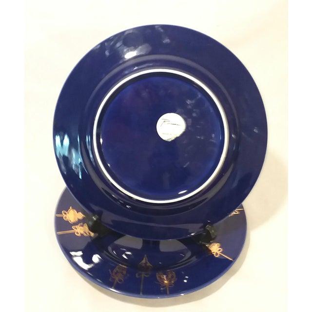 Ceramic Cobalt Blue & Gold Dinner Plates - a Pair For Sale - Image 7 of 9