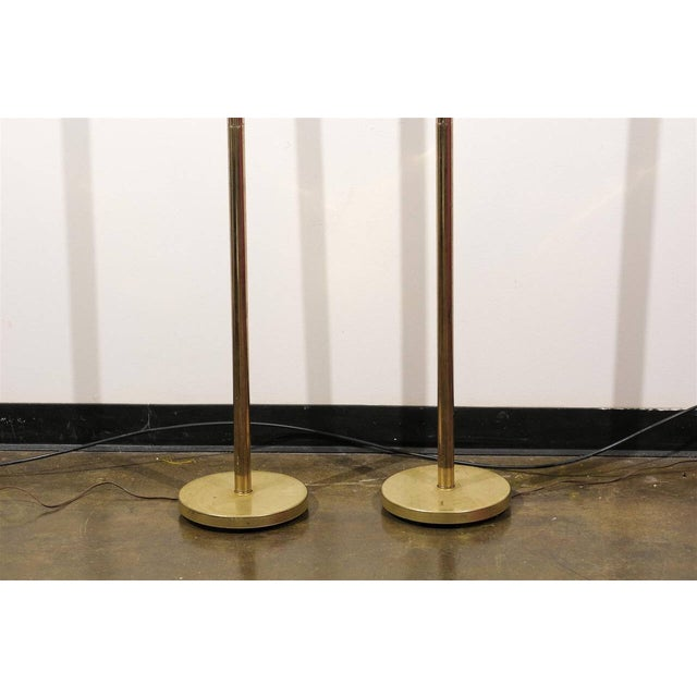 MCM Brass & Chrome Torchiere Floor Lamps - A Pair For Sale In Atlanta - Image 6 of 6