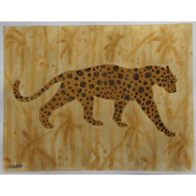 Cleo Plowden Leopard Chinoiserie Cheetah Painting by Cleo Plowden For Sale - Image 4 of 4