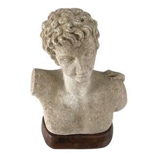 OUtdoor Garden Hermes Carved Bust on Pedestal For Sale