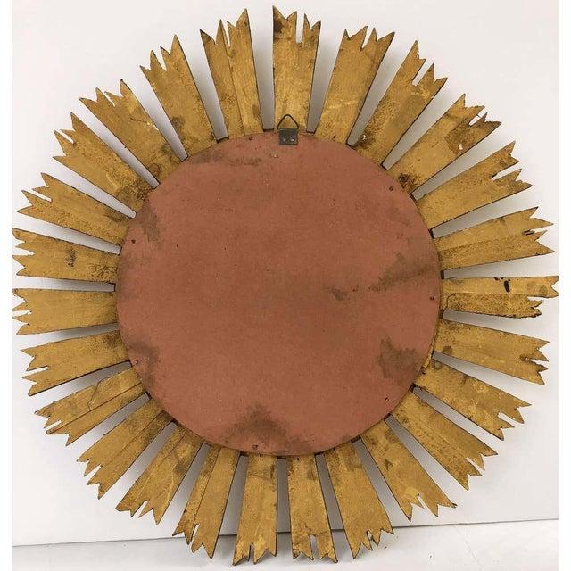 Gold French Gilt Starburst or Sunburst Mirror (Diameter 21) For Sale - Image 8 of 9