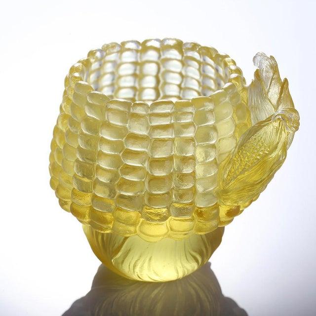 "LIULI Crystal Art Crystal ""Golden Abundance"" Limited Edition Corn Desk Decor in Clear Amber For Sale - Image 4 of 4"