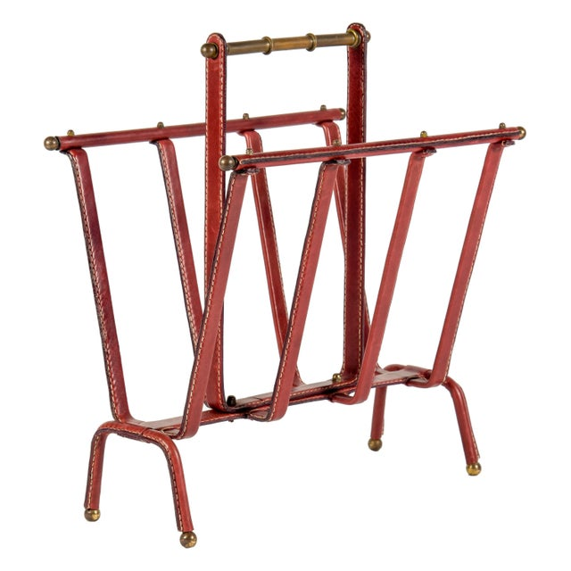 1950s Stitched Leather Magazine Rack by Jacques Adnet For Sale - Image 9 of 9