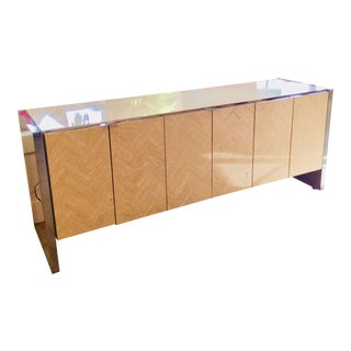 Mid-Century Modern Ello Travertine and Chrome Buffet For Sale