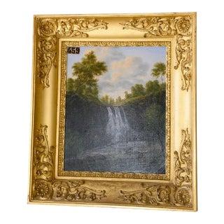 """""""Cascade De La Haute Loire"""" Framed Painting by M. De Lasalle For Sale"""