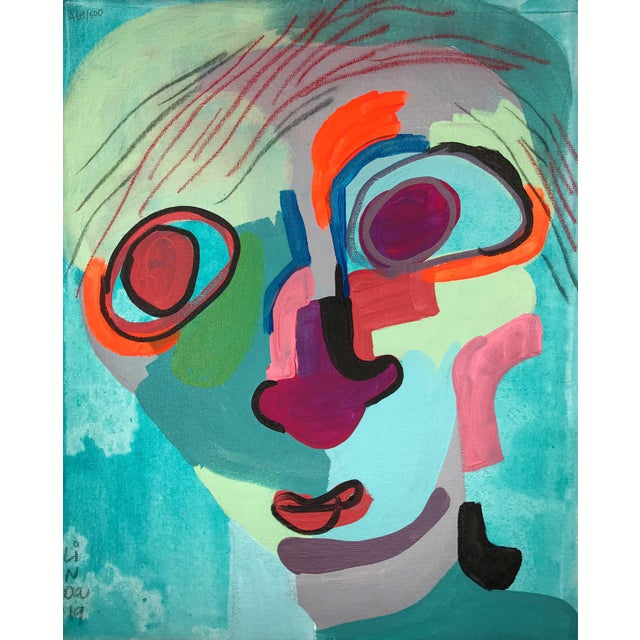 """Canvas Contemporary Abstract Portrait Painting """"Kooky Awesome, No. 2"""" For Sale - Image 7 of 7"""