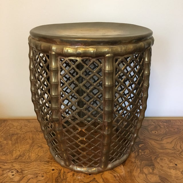 1960s Brass Faux Bamboo Garden Stool For Sale - Image 5 of 5