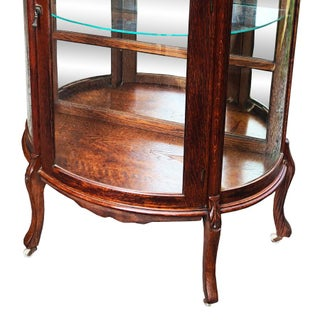 Antique Victorian Quartersawn Tiger Oak Bowed Curved China Cabinet Preview