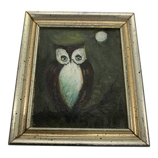 Vintage Miniature Framed 'Owl by Moonlight' Oil Painting For Sale