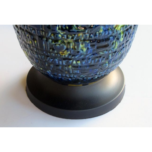 1960s A Massive and Richly-Colored Pair of American 1960's Ceramic Lamps With Blue, Green and Yellow Drip Glaze For Sale - Image 5 of 8