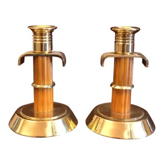 Art Deco Brass and Bakelite Candlesticks - a Pair For Sale