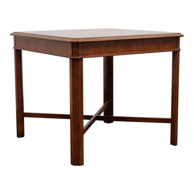 Drexel Heritage Yorkshire Yew Wood Chippendale Accent Table For Sale