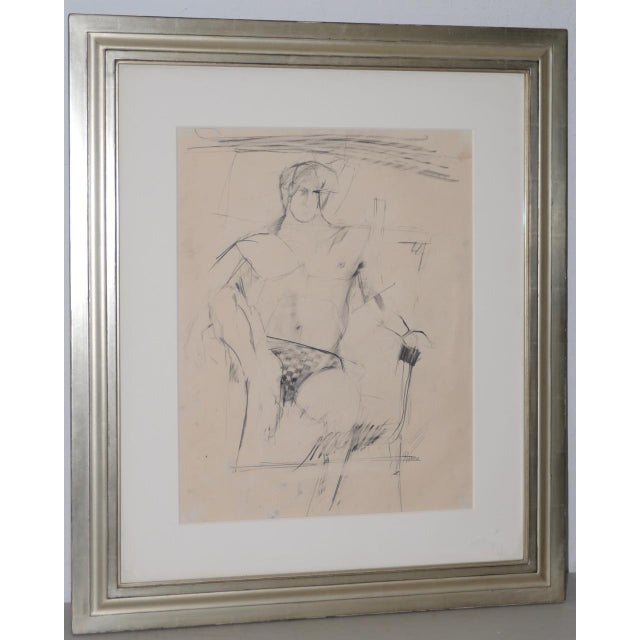 Larry Rivers (1923-2002) Modernist Male Figure Original Charcoal Mid 20th C. For Sale - Image 4 of 4
