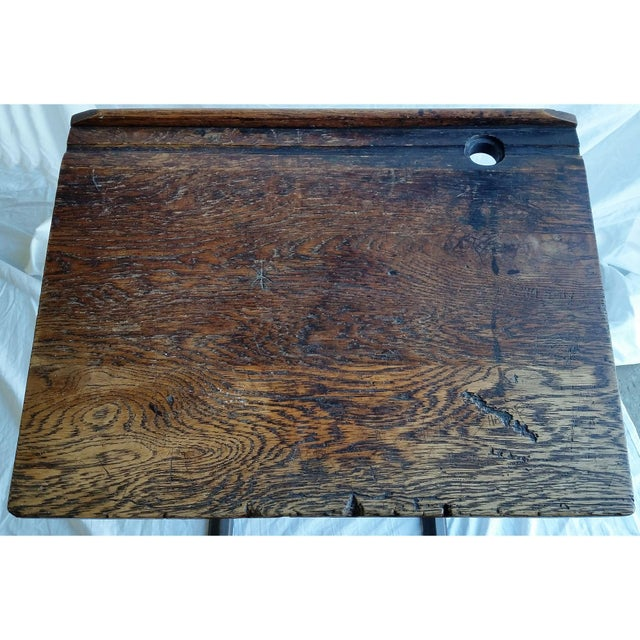 Industrial British Antique Oak & Iron Desk - Image 4 of 6