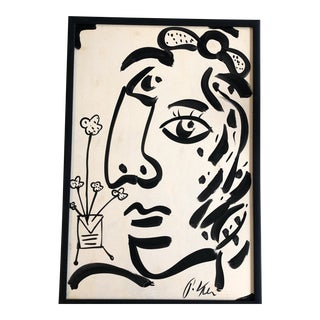 Original Vintage Peter Robert Keil Large Abstract Face Painting For Sale