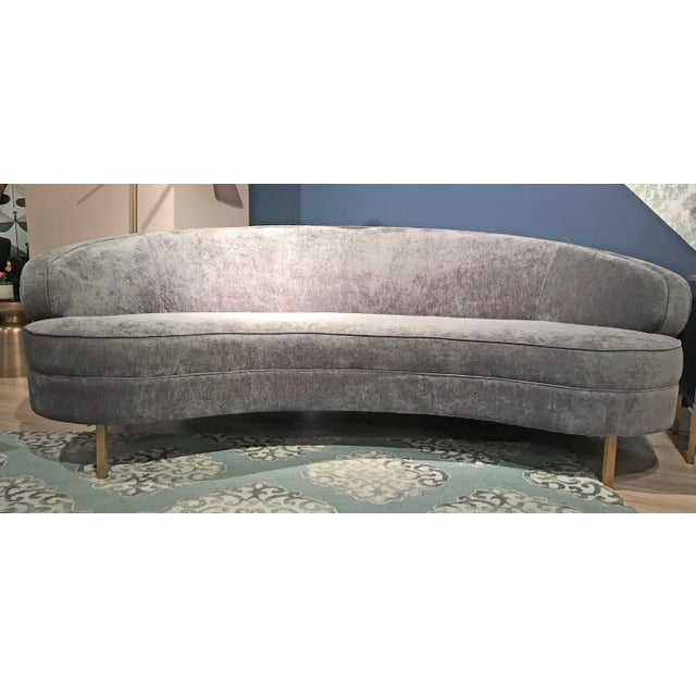 Contemporary Italian Modern Style Grey Velvet Sofa For Sale - Image 3 of 4