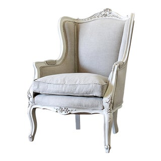 20th Century Louis XV Style New Belgian Linen Upholstery Wing Back Chair For Sale