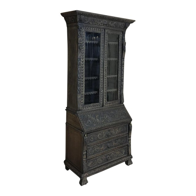 19th Century English Renaissance Weathered Oak Secretary Bookcase For Sale