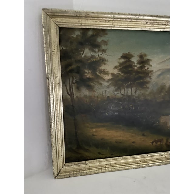 Antique Oil Painting of Landscape For Sale - Image 4 of 13