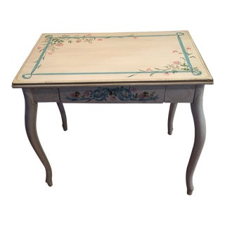 1980s French Shabby Chic Rustic Painted Writing Desk For Sale