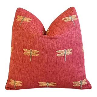 "Designer Rusty-Red Dragonfly in Flight Feather/Down Pillow 20"" Square For Sale"
