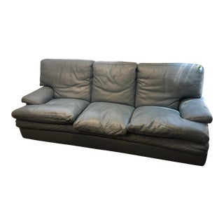 Roche-Bobois Blue Leather Couch For Sale