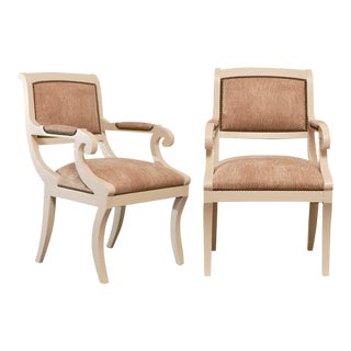 Gorgeous Regency Armchairs in Cream Lacquer - 4 Available For Sale