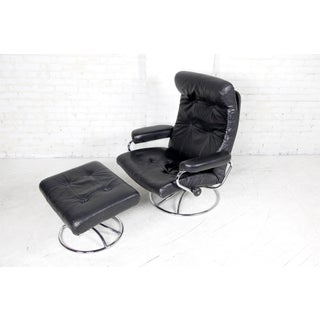 1970s Vintage Ekrones Leather Swivel Reclining Lounge Chair and Ottoman Preview
