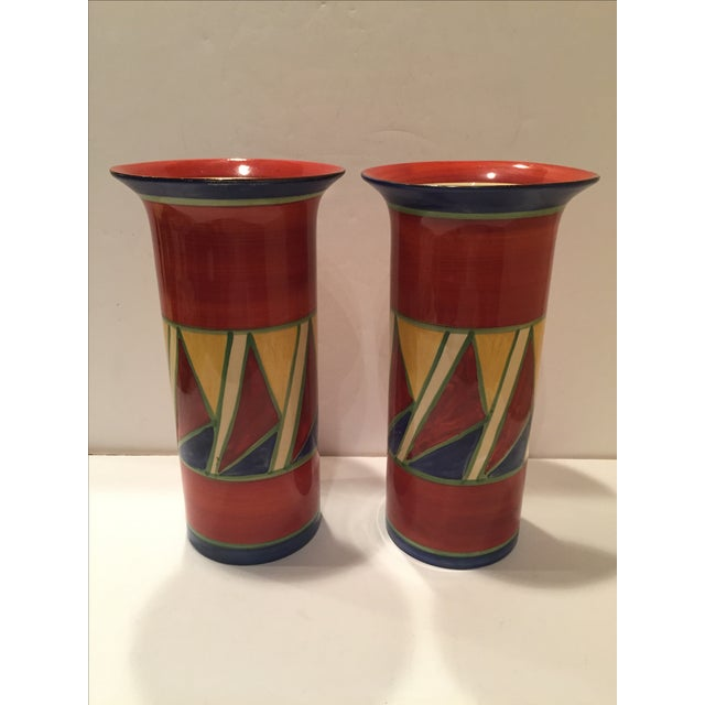 Clarice Cliff Early Geometric Vases - Pair For Sale In West Palm - Image 6 of 6