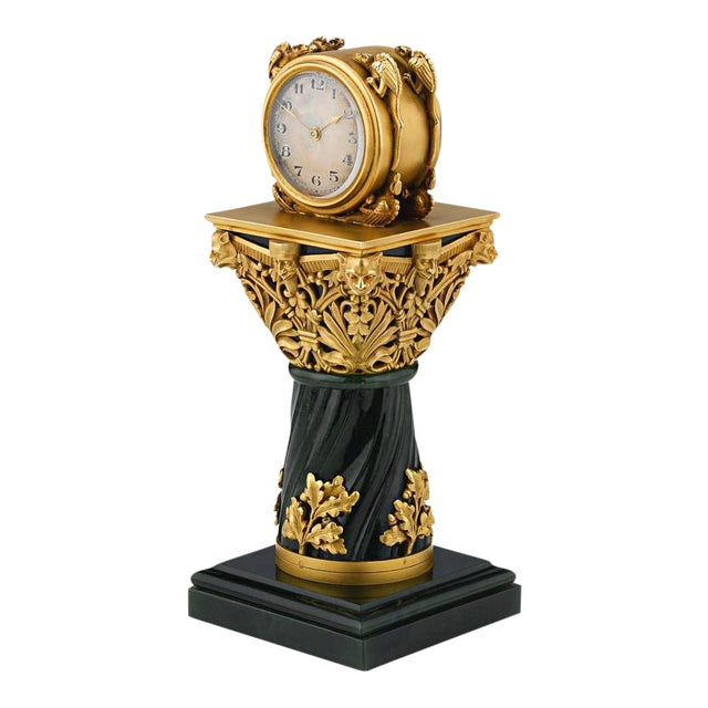 Paul Frey Miniature 18-Karat Gold and Jade Clock For Sale