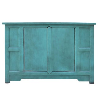 Simple Shabby Chic Rustic Light Blue Low Credenza Cabinet For Sale