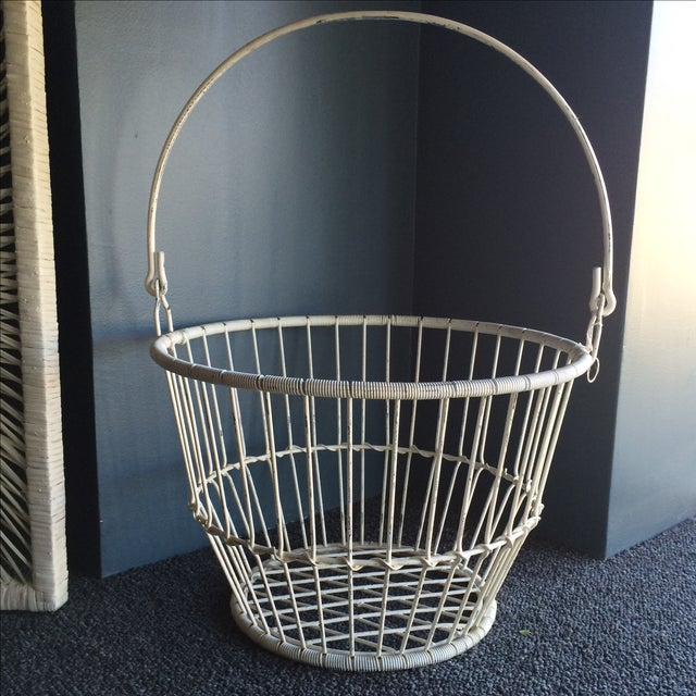 Vintage White Metal and Wire Basket - Image 2 of 7