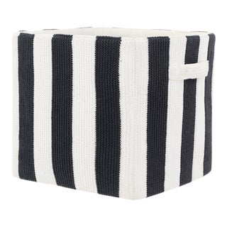 """Stripped Knitted Cotton Storage Bin - Black and White 