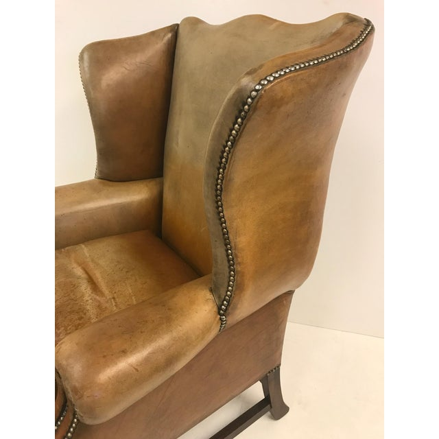 Animal Skin Vintage Leather Wingback Chair For Sale - Image 7 of 9 - High-End Vintage Leather Wingback Chair DECASO