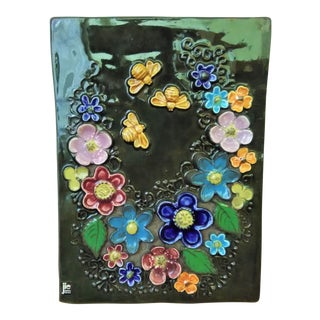 Mid-century Jie Gantofta Sweden Floral Wall Plaque Hand-Painted Tile For Sale