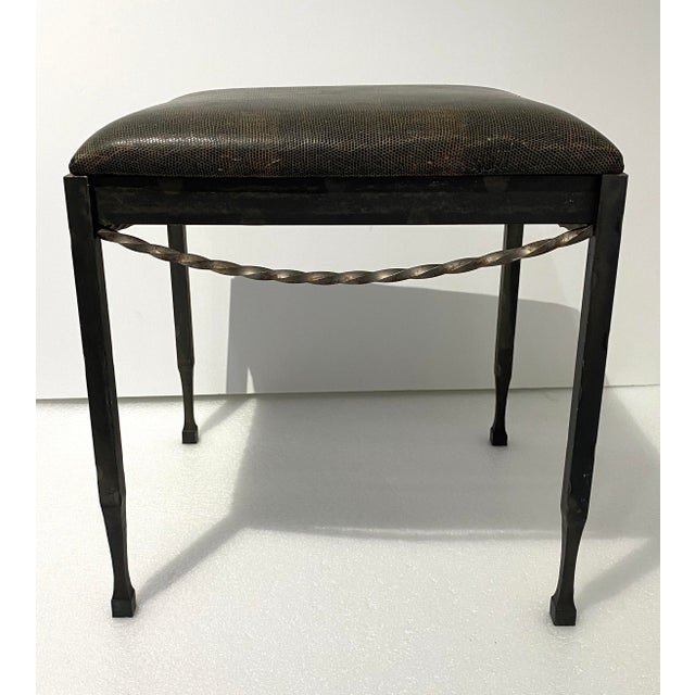 Late 20th Century Vintage Artisan Wrought Iron Stool With Faux Lizard Fabric For Sale - Image 5 of 12