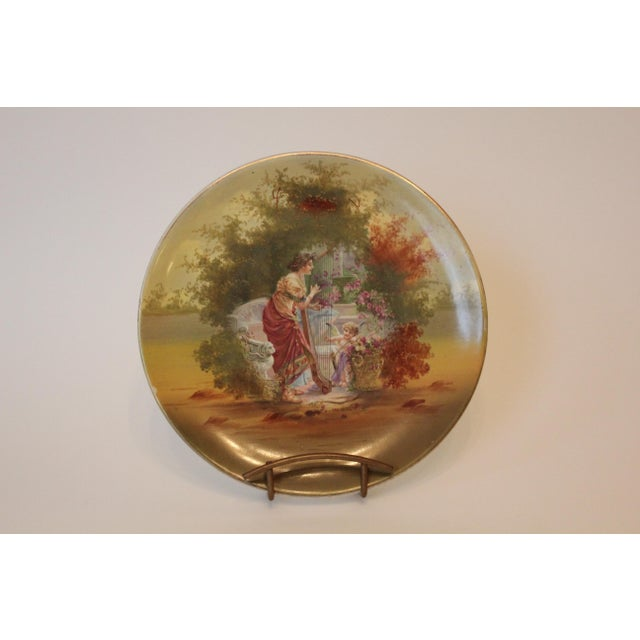 Early 20th Century Woman and Harp and Putti Pastoral Decorative Plate For Sale - Image 5 of 5