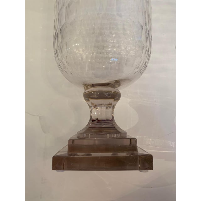 Transparent Cylindrical Cut Glass Hurricanes Candle Holders -A Pair For Sale - Image 8 of 10