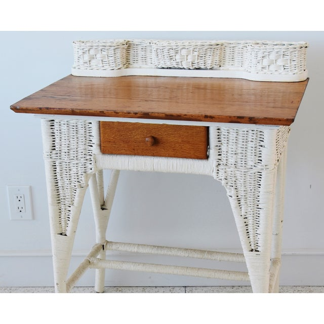 Antique Painted Wicker & Oak Writing Desk Table For Sale - Image 10 of 13