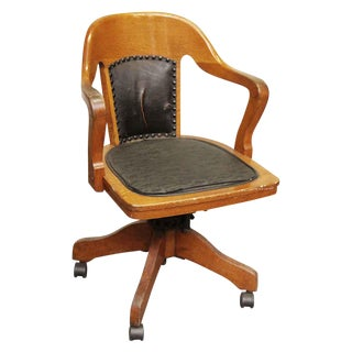 Wooden Rolling Desk Chair With Vinyl For Sale