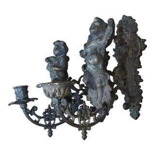 Antique Victorian Bronze Figura lCherub Candelabras Wall Sconces - a Pair For Sale