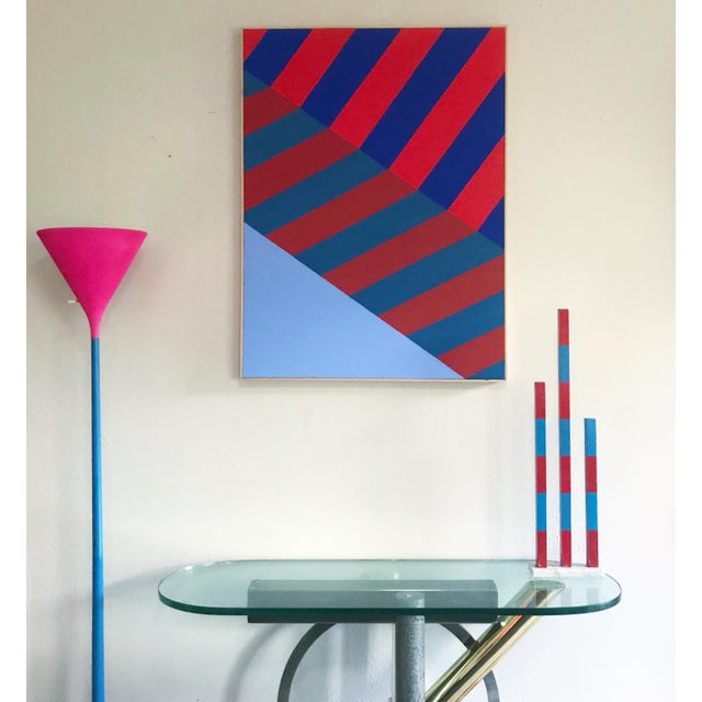 Original hand painted composition in red and blue by contemporary artist Jonathan Marquis. Executed in acrylic on...