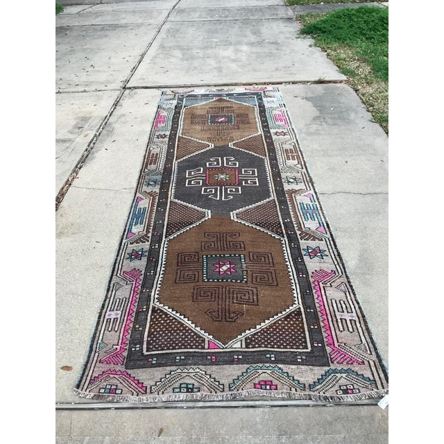 Islamic 1970s Vintage Turkish Kurdish Hand-Knotted Rug Runner - 4′1″ × 10′7″ For Sale - Image 3 of 10
